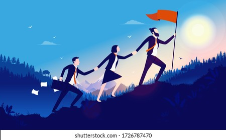 Leadership - Three businesspeople working together to achieve goal. Walking up challenging hill to plant flag on top. Teamwork creates success, overcome adversity, challenge and opportunities concept.