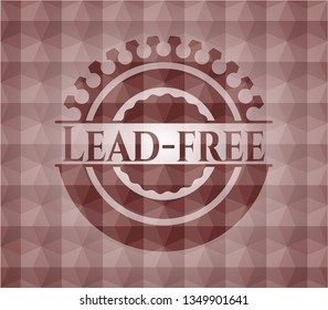 Lead-free red badge with geometric pattern background. Seamless.