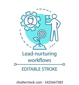 Lead-nurturing workflows blue concept icon. Marketing automation idea thin line illustration. B2B, b2c email campaign. Marketing livecycle, content. Vector isolated outline drawing. Editable stroke