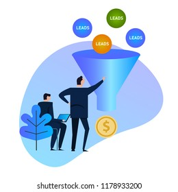 Leads generation. Sales funnel. balls entering into a conversion funnel and then output as money, conceptual Business or Marketing concept