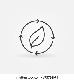 Leaf in arrows icon - vector eco energy concept outline sign