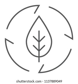 Leaf in arrows thin line icon, ecology and energy, green energy sign, vector graphics, a linear pattern on a white background, eps 10.