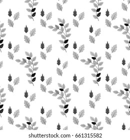 Leaf black seamless pattern. Fashion graphic background design. Modern stylish texture. Monochrome template for prints, textiles, wrapping, wallpaper, website. Design element. Vector illustration