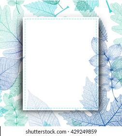Leaf blue background. Vector, EPS10.