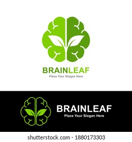 Leaf brain vector logo template. Suitable for business, web, ecology, nature, education,  symbol of creativity, creative idea, mind, thinking.