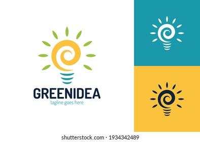 Leaf bulb eco Idea Logo design vector, Design Concept, Creative Symbol, Icon template