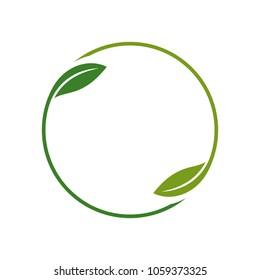 leaf circle around vector logo.