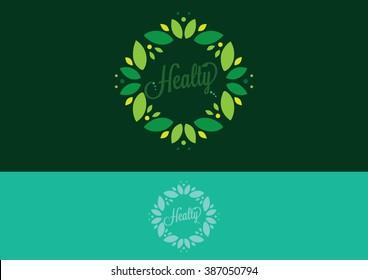 Leaf circle flat logo vector