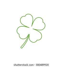 Leaf clover icon. Saint patrick symbol. Outline design style. Ecology concept.