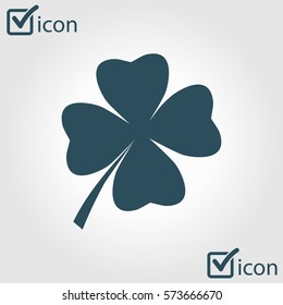 Leaf clover sign icon. Saint patrick symbol. Ecology concept. Flat design style.