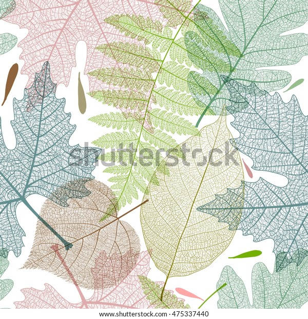 Leaf colorful seamless pattern. Autumn vector illustration in vintage style.