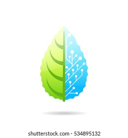 Leaf consisting of biological and artificial parts, concept of biotechnology, 2d vector icon, eps 10