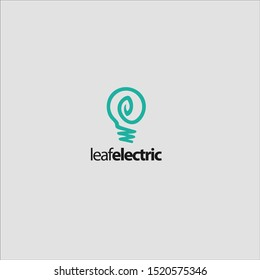 Leaf and electric and energy logo design lamp