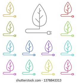 Leaf with electric plug multi color icon. Simple thin line, outline vector of Sustainable Energy icons for UI and UX, website or mobile application