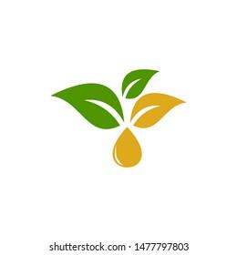 leaf essential oil logo. Aromatherapy logo.ikon with a drop of leaf essential oil. Aromatherapy, perfumery, cosmetics, spa logo.,