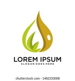leaf essential oil logo. Aromatherapy logo.ikon with a drop of leaf essential oil. Aromatherapy, perfumery, cosmetics, spa logo.