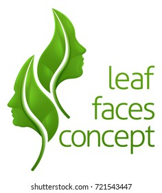 Leaf face concept of leaves forming a man and a womans faces in profile