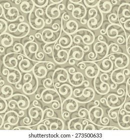 Leaf, floral pattern from curls. Beige and white ornament. Seamless vector background.