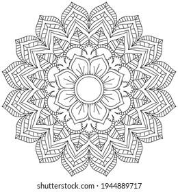Leaf Flower Coloring Mandala Art Simple Mandala Shape Vector Floral Oriental Outline Flower Vintage Decorative Elements Pattern Illustration Islam Arabic Indian Turkish Mystic Religion Morals Lotus