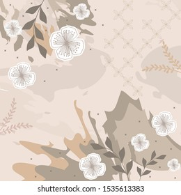 leaf and flower scarf pattern with brown color design