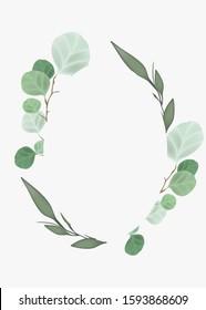 Leaf and flower wreath frame. Botanical graphic design element for wedding invitations , foliage poster.