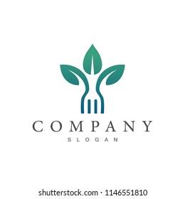 leaf with fork logo, healthy food logo