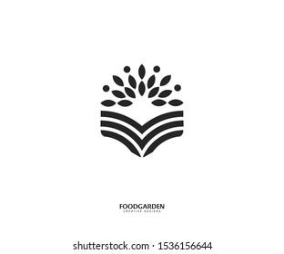 Leaf garden logo template. Leaf book vector, coffee shop logo store