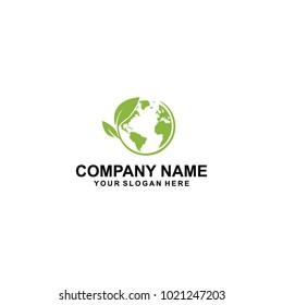 leaf globe one logo design