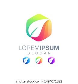 leaf gradient color logo design