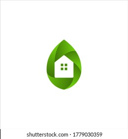 Leaf and Green House Logo Vector Illustration Template