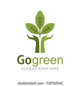 Leaf green logo design template