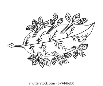 Leaf hand drawing illustration. Decorative style