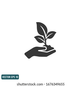 leaf and hand icon save nature symbol design element logo template vector eps 10