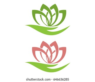 leaf and hand logo design