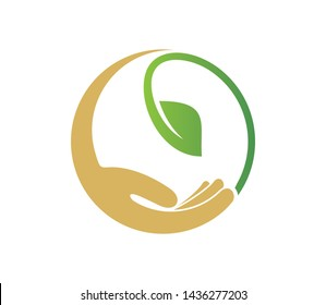 Leaf in hand logo.  Vector symbolic graphic representation of the plant. Hand Leaf icons design template