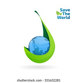 leaf hold global vector icon, save the water concept, ecology, go green, think green