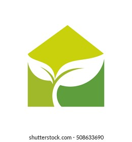 leaf and house logo vector.