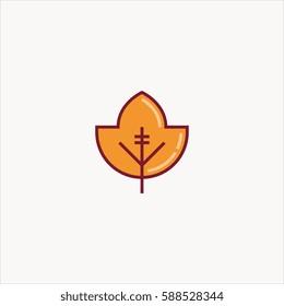 leaf icon flat design
