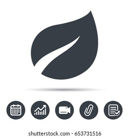 Leaf icon. Fresh organic product symbol. Calendar, chart and checklist signs. Video camera and attach clip web icons. Vector