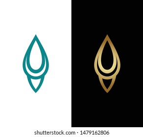 Leaf icon. golden and tosca leaf vector. eco simple icon