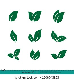 leaf icon nature symbol vector logo template