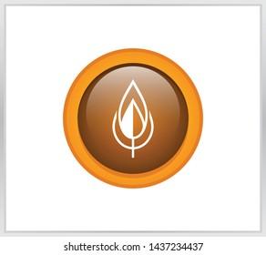 Leaf icon on yellow circle background. modern leaf icon