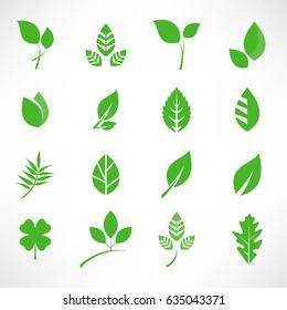 Leaf Icon Set Vector Illustration