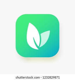 Leaf icon, vector logo, button. Eco nature healthy concept. Green logotype natural plant symbol. Sign design for web site, mobile app. Element ecology bio organic illustration