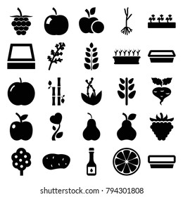 Leaf icons. set of 25 editable filled leaf icons such as apple, deel, tree, pot for plants, plant in pot, sprout plants, raspberry, sprout, plant, heart flower