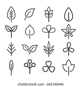 leaf icons set. vector illustration.