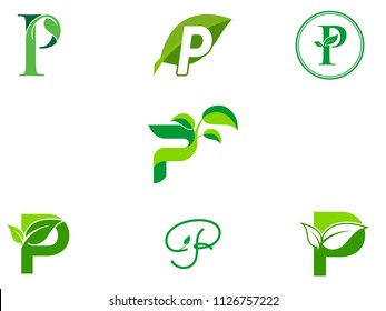 leaf initials P logo set, natural green leaf symbol, initials P icon design
