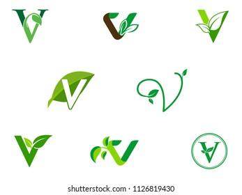 leaf initials V logo set, natural green leaf symbol, initials V icon design