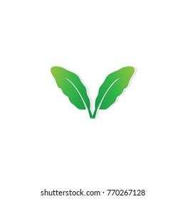 leaf and letter V for organic logo