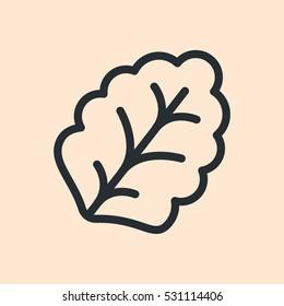 Leaf Lettuce Plant Minimal Flat Line Outline Stroke Icon Pictogram Symbol